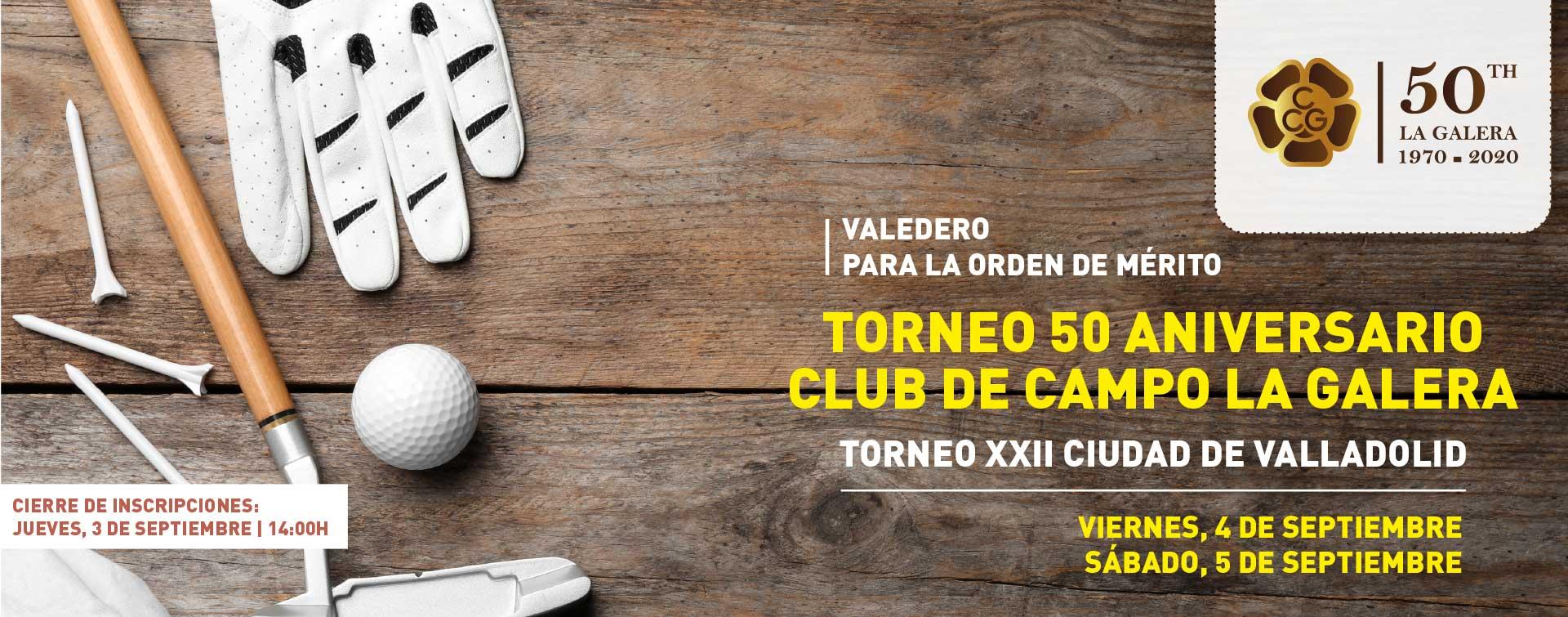 Cartel del torneo de golf 50 aniversario de La Galera, en Valladolid