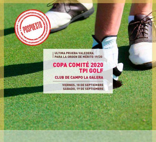Imagen destacada avisando de la Copa Comité 2020 TPI Golf pospuesta en modalidad open en Septiembre