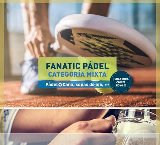 Personas jugando al pádel en el torneo Fanatic de Pádel Mixto, en Noviembre de 2020 y, luego, cañas y picoteo