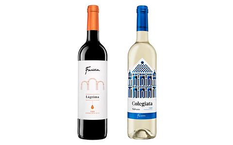 Botellas de vino blanco y tinto Malvasía y Lágrima