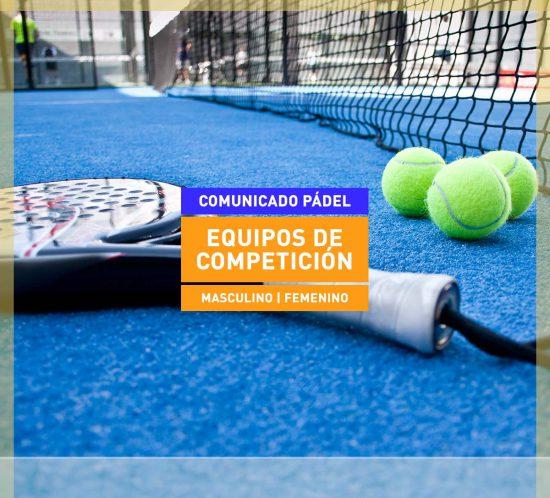 Comunicado de pádel Equipos de competición en La Galera