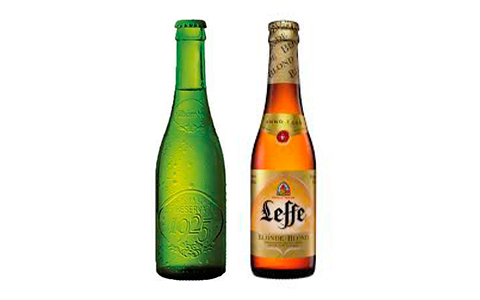 Botellines de cerveza Alhambra y Leff